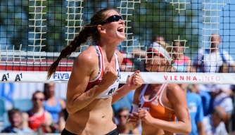 Camille celebrates winning a point.