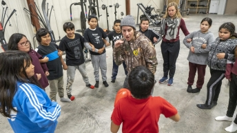 Mary Spencer coaches kids in boxing