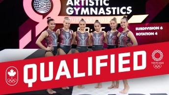 Canadian artistic gymnastic team posing