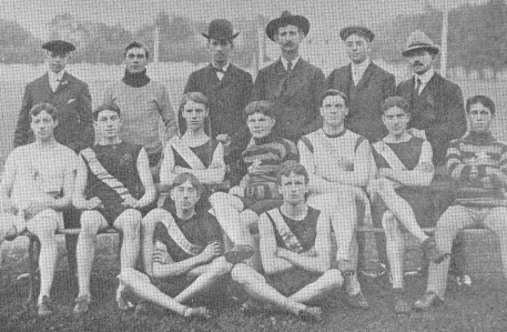 William Halpenny, bottom right, with the 1904 Maritime Champion Abegweit Track and Field Team.