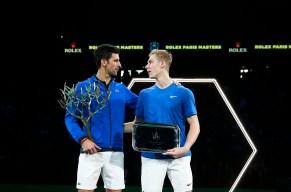 Novak Djokovic, left, poses with Denis Shapovalov