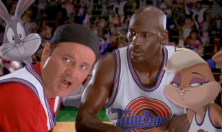Michael Jordan (left) during a basketball game, speaking with Bill Murray (left). Looney Tunes on the top left, Lola Bunny on the bottom right.