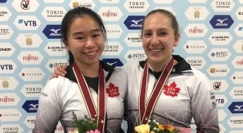 Trampoline Worlds: Samantha Smith along with Rachel Tam captured a bronze medal in womens synchro event after putting up 48.420 points for Canada. November 30th, 2019 in Tokyo. (Photo credit: Gymnastics Canada)