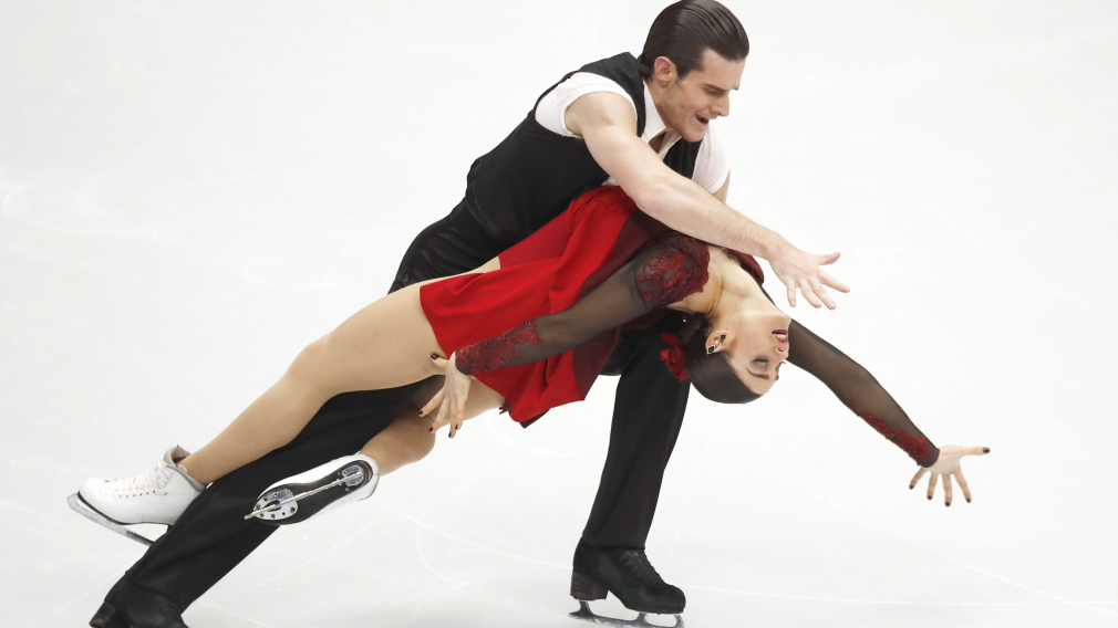 Laurence Fournier Beaudry and Nikolaj Sorensen perform in the pairs ice dance free dance event