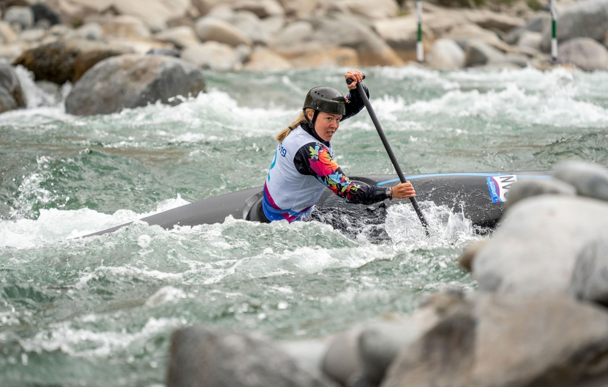 Lois Betteridge of Canada competes in women's canoe slalom.