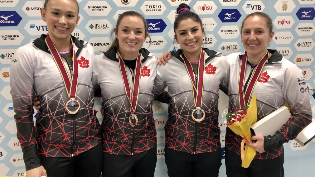 Team Canada's women's trampoline team wins bronze at the FIG World Championships in Tokyo, Japan