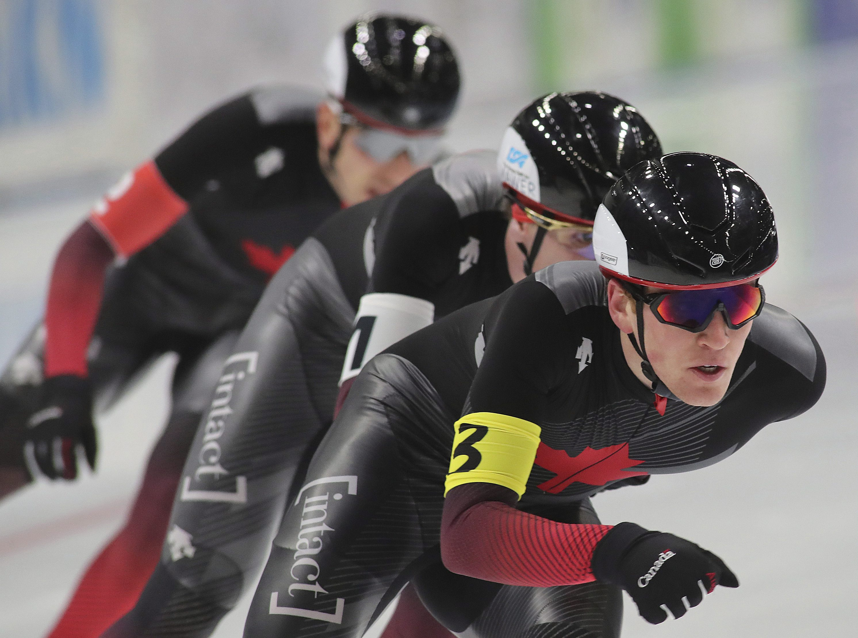 Canada's team in action during the men's team race of ISU Speedskating World Cup in Tomaszow Mazowiecki, Poland, Sunday , Nov. 24, 2019. (AP Photo/Marian Zubrzycki)