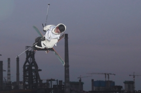 Canada's Teal Harle, runner up in the Mens' Freeski Big Air jumps during the 2019 FIS Big Air World Cup held at the Big Air Shougang in Beijing on Saturday, Dec. 14, 2019. (AP Photo/Ng Han Guan) ///