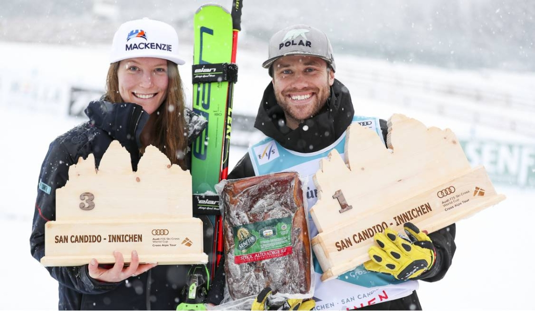Kevin Drury and Brittany Phelan land on the podium despite weather cancellations at Ski Cross World Cup in Italy. December 20, 2019. Photo: GEPA