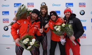 Team Justin Kripps wins second 4-man bobsleigh victory of the weekend at IBSF World Cup in Lake Placid on Sunday December 15th, 2019. (Photo from IBSF)
