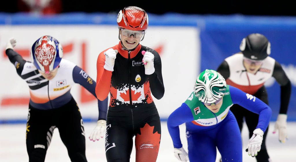 NAGOYA, JAPAN - DECEMBER 01: Kim Boutin (2nd L) of Canada celebrates as she wins the Ladies' 500m Final A during the ISU World Cup Short Track at the Nippon Gaishi Arena on December 01, 2019 in Nagoya, Japan. (Photo by Kiyoshi Ota - International Skating Union/International Skating Union via Getty Images)