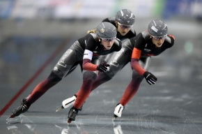 NAGANO, JAPAN - DECEMBER 15: Team Canada perform in the in the Women's Team Pursuit.