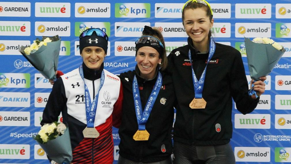 Martina Sablikova,Ivanie Blondin,Isabelle Weidemann on podium