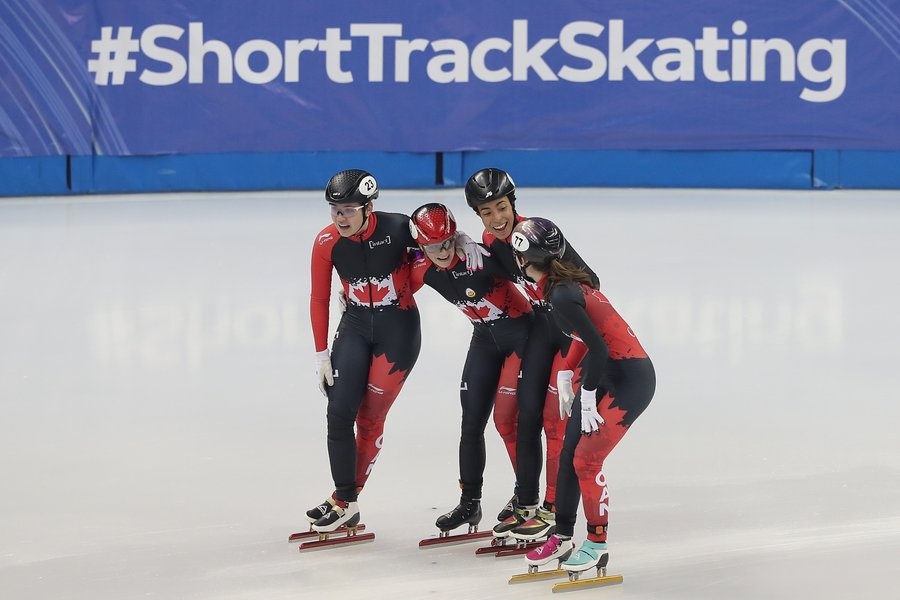 The women's short track relay team, composed of Alyson Charles, Courtney Sarault, Danaé Blais and Kim Boutin, finished with a time of 4:09.460 to win the gold medal for the first time since the 2014-15 season. It is the fourth medal of the season for the women but first gold medal victory. Previously, they have won three consecutive bronze medals before Shanghai. Saturday December 8th, 2019. Photo from Speed Skating Canada Twitter.