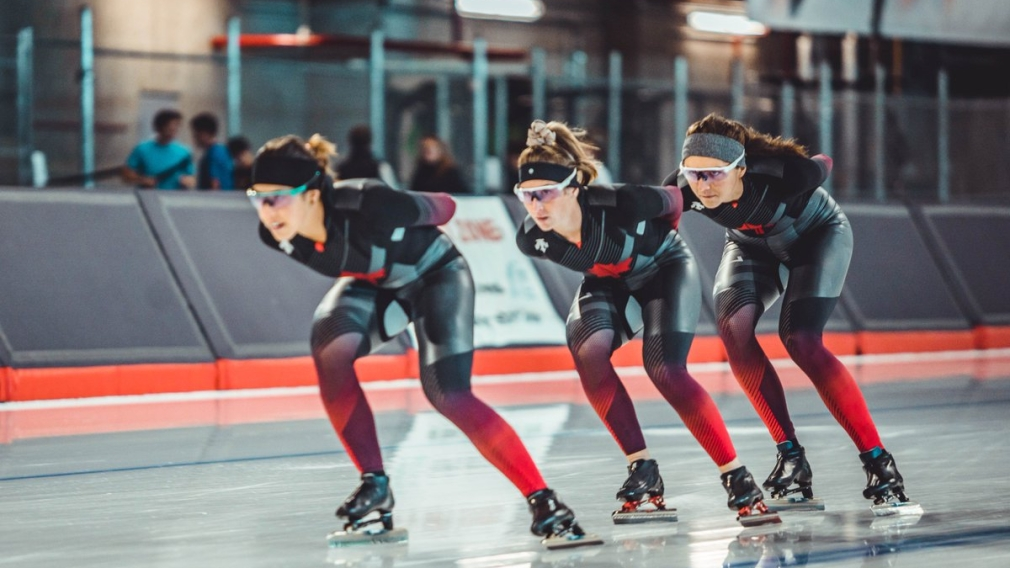 Team Canada - Ivanie Blondin, Isabelle Weidemann, Valerie Maltais and Béatrice Lamarche - capture gold in the team pursuit on Sunday December 8th in Nur-Sultan, Kazakhstan. (Photo from Speed Skating Canada Twitter)