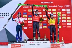 (L-R) Courtney Hoffos, Marielle Thompson, and Sandra Naeslund on the ski cross podium.
