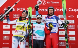Podium for men's ski cross at Val Thorens, France. Canada's Kevin Drury is centre.