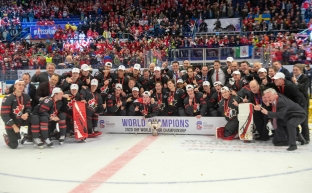 Team Canada celebrates after defeating Russia in the gold medal game at the World Junior Hockey Championships, Sunday, January 5, 2020 in Ostrava, Czech Republic. THE CANADIAN PRESS/Ryan Remiorz