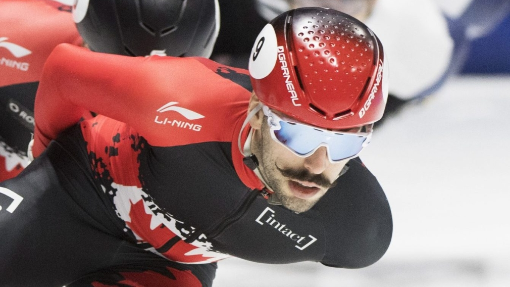 Steven Dubois, of Canada, skates to a second place finish during the men's 1500-metre final race at the ISU Four Continents Short Track Championships in Montreal, Saturday, January 11, 2019. THE CANADIAN PRESS/Graham Hughes
