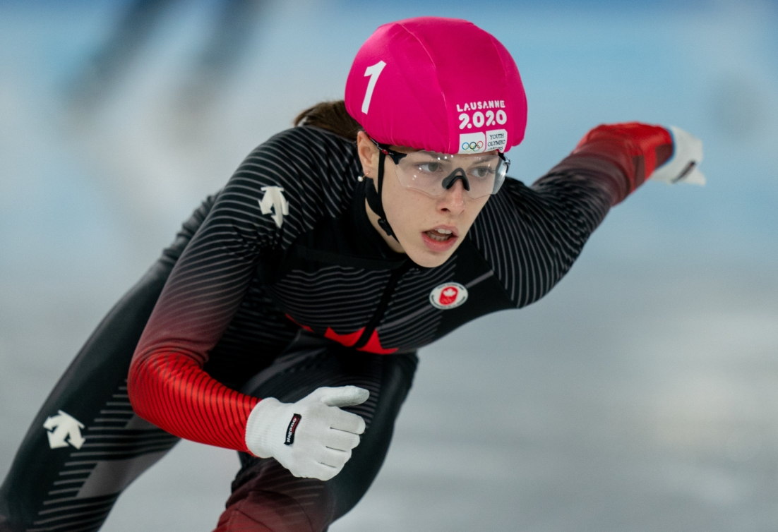 Close up of Florence Brunelle in a short track race