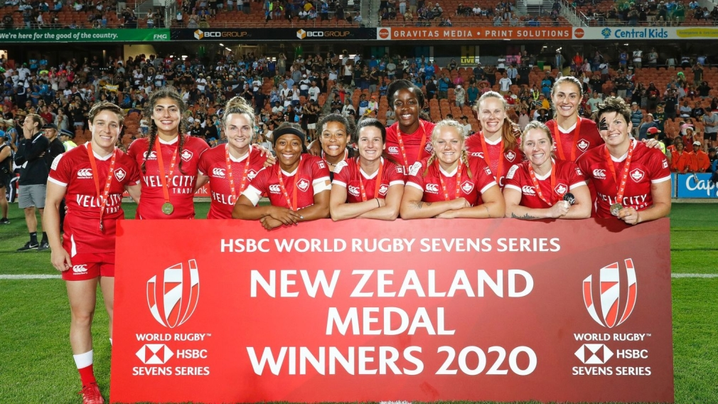 Canada is the silver medal winner on day two of the HSBC New Zealand Sevens 2020 women's competition at FMG Stadium Waikato on 26 January, 2020 in Hamilton, New Zealand.