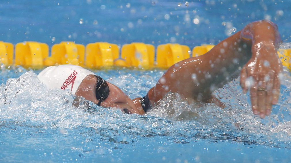 A swimmer competes in the 200m individual medley