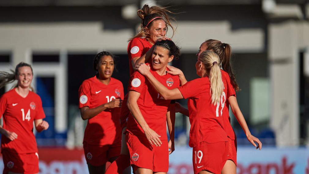 Canada celebrates after scoring a goal