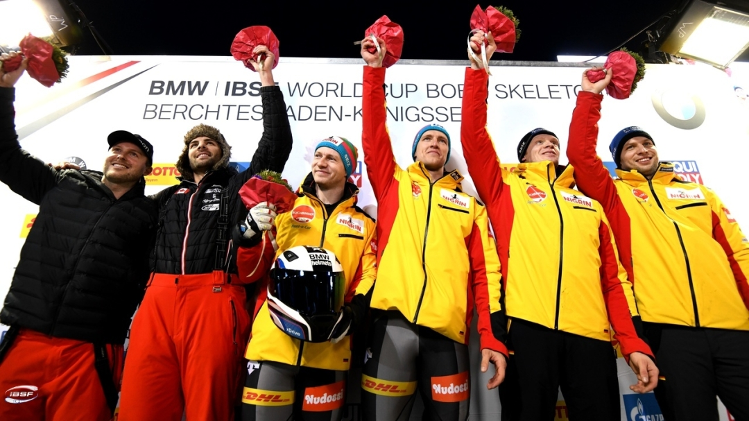 The two-man bobsleigh podium. Justin Kripps and Cam Stones on the far left.