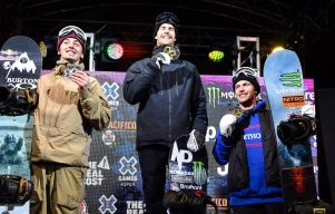 Max Parrot and Mark McMorris stand on the X Games podium