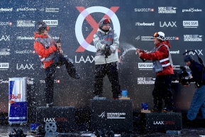The men's snowboard slopestyle podium celebrates at the 2020 Laax Open World Cup.