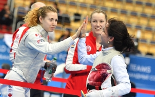 Canadian women qualify Canada for Tokyo 2020 in Women's Team Foil on Sunday Feb 23, 2020. (photo from Fencing Canada Twitter)