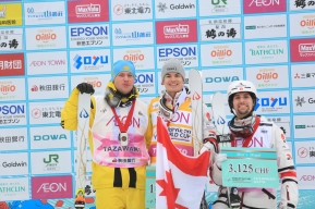 Mikael Kingsbury, Laurent Dumais celebrate their gold and bronze medals, respectively in Tazawako, Japan on February 22nd 2020