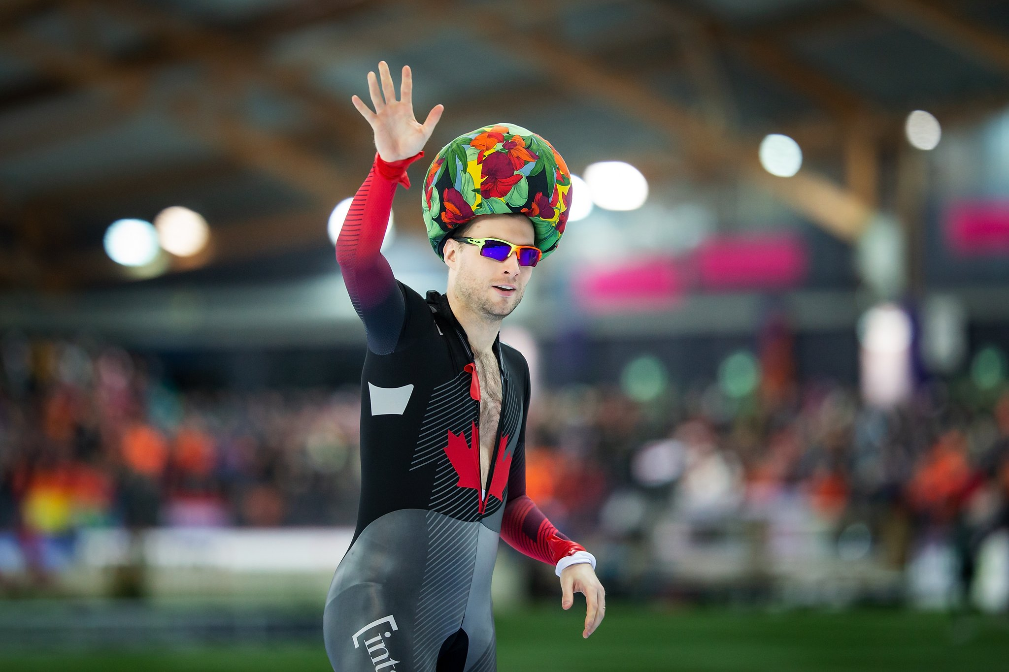 Canada's Laurent Dubreuil celebrates being crowned vice-champion at the ISU World Sprint Speed Skating Championships on Saturday in Hamar, Norway. Feb 29, 2020. (Photo from Speed Skating Twitter)