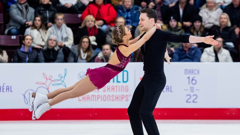 Kirsten Moore-Towers and Michael Marinaro compete at the ISU Four Continents Figure Skating Championships