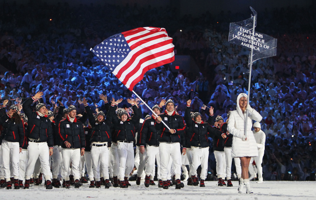 Team USA walking in the stadium at the Vancouver 2010 Opening Ceremony