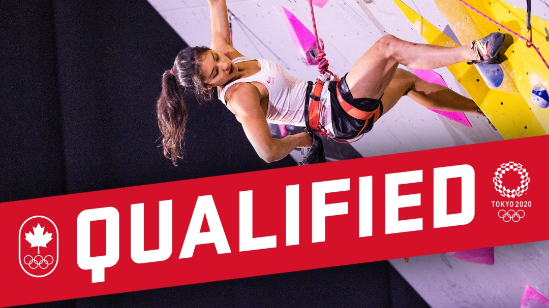 Qualified graphic with photo of Alannah Yip climbing during a lead event.