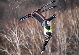 Lewis Irving catches some air in an aerial competition.