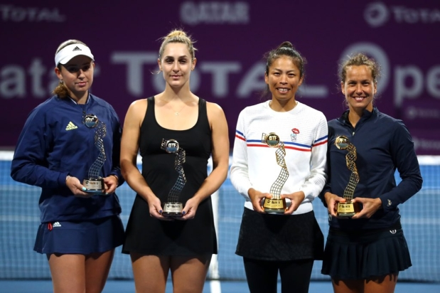 Gaby Dabrowski (second from left) and Jelena Ostapenko pose for a photo with Qatar Open winners Hsieh Su-wei and Barbora Strycova.
