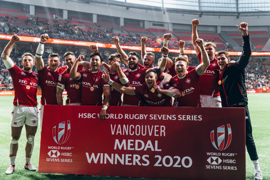 Team Canada celebrates after finishing in third place at the Rugby 7s tournament
