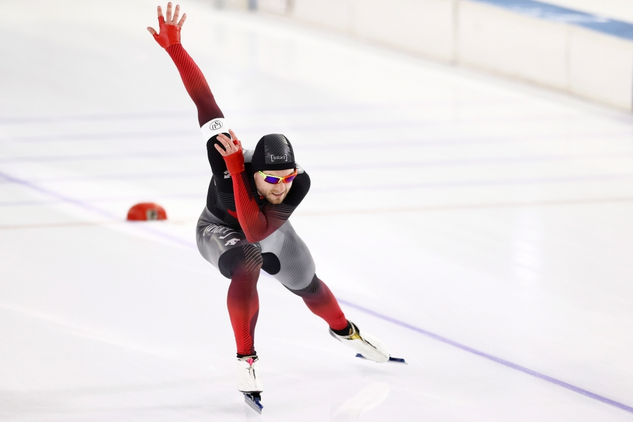 Laurent Dubreuil of Canada competes in the second of two men's 500 meters races