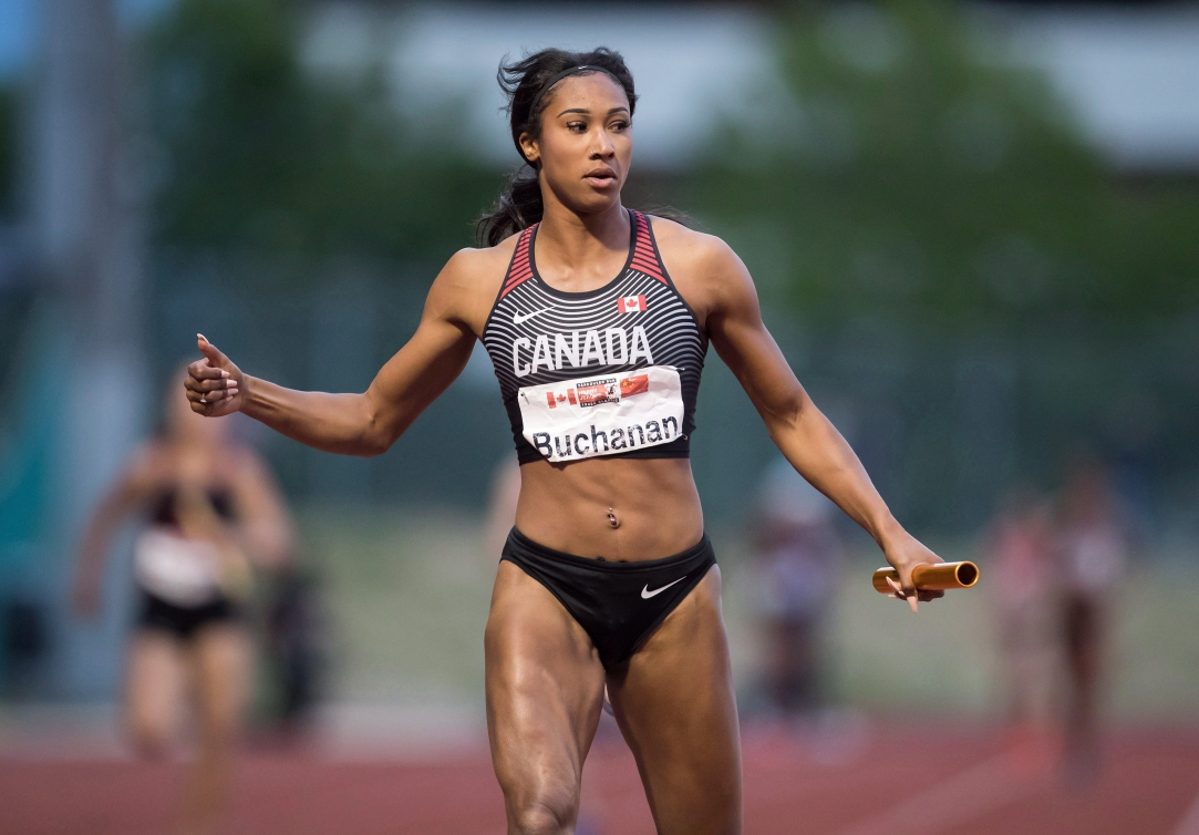 Canada's Leya Buchanan, of Toronto, looks on after running in the anchor spot to finish in second-place behind China during the women's 4 x 100 metre relay at the Harry Jerome International Track Classic, in Burnaby, B.C.