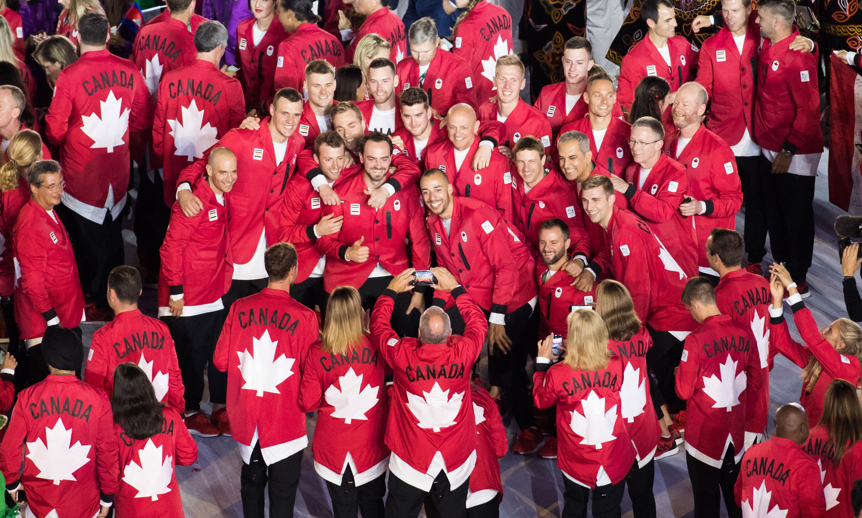 Team Canada Athletes pose for pictures at the opening ceremonies in Rio 2016