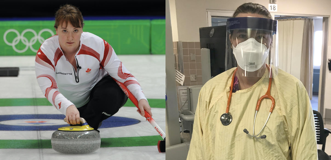 (Left) Susan O'Connor competes at Vancouver 2010. (Right) Her daily life at a Calgary Hospital.