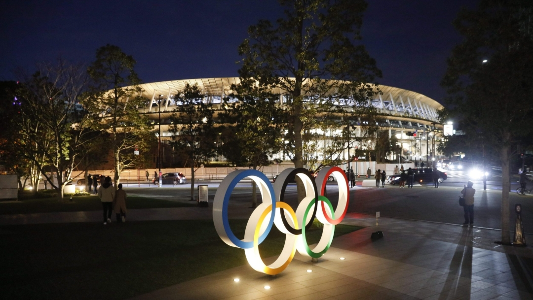 The Olympic rings outside the Olympic Stadium in Tokyo