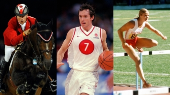 Athletes in Equestrian, Basketball and Athletics doing their sports