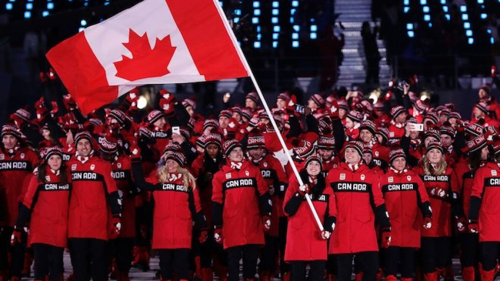 Team Canada entering the PyeongChang 2018 opening ceremony