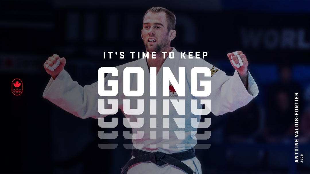 """Antoine Valois Fortier celebrates, overlaid with the words """"It's time to keep going"""""""