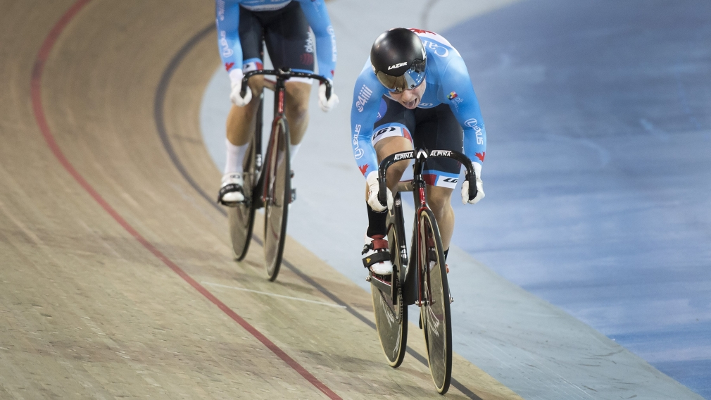 Lauriane Genest rides on the velodrome