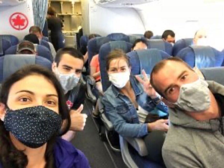 Judo national team members wear masks on airplane