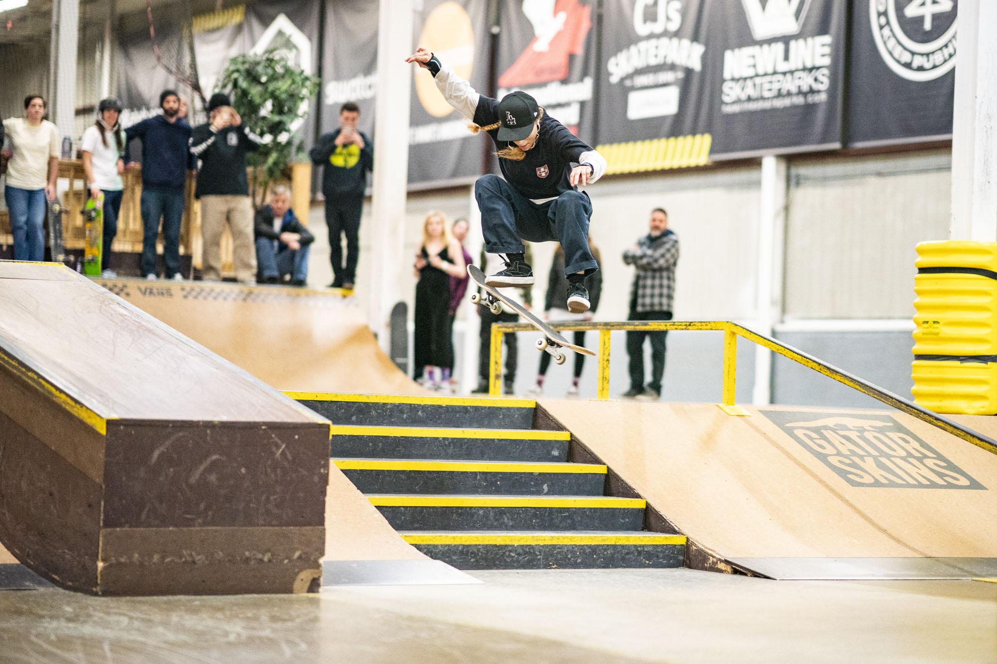 Grant ding a kickflip on skateboard
